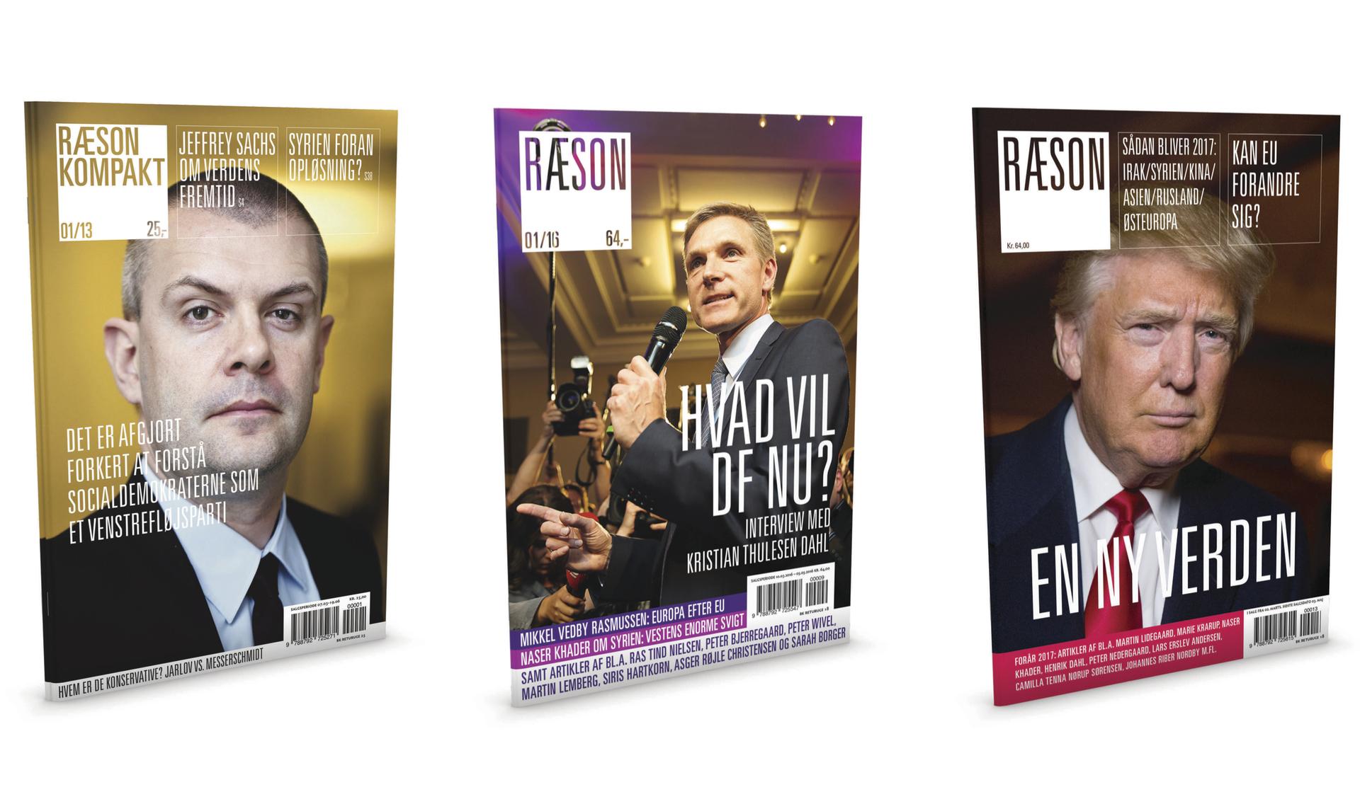 Tre gaveeksemplarer af det nye RÆSON